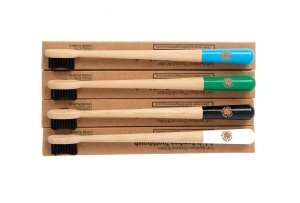 4 Colourful Eco-Friendly Bamboo Toothbrushes - Drum Stick Handle, Bamboo Charcoal Infused Bristles