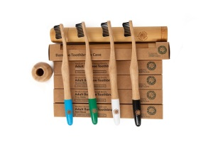 4 Colourful Eco-Friendly Bamboo Toothbrushes - Sea Wave Handle, Bamboo Charcoal Infused Bristles