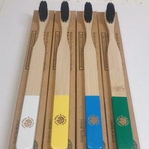 4 Colourful Eco-Friendly Bamboo Toothbrushes - Easy-Grip Handle, Bamboo Charcoal Infused Bristles