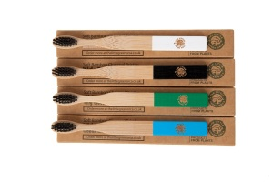 4 Colourful Eco-Friendly Bamboo Toothbrushes - Easy-Grip Handle, Bamboo Charcoal Infused Bristles for Kids