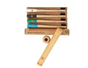 4 Colourful Eco-Friendly Bamboo Toothbrushes & 1 Toothbrush Travel Case Gift Box- Drum Stick Handle, Bamboo Charcoal Infused Bristles from The Little Green Orca