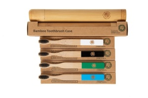 4 Colourful Eco-Friendly Bamboo Toothbrushes & 1 Toothbrush Travel Case Gift Box - Easy-Grip Handle, Charcoal Infused Bristles for Kids from The Little Green Orca