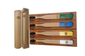 4 Colourful Eco-Friendly Bamboo Toothbrushes & 1 Toothbrush Travel Case Gift Box - Easy-Grip Handle, Bamboo Charcoal Infused Bristles from The Little Green Orca